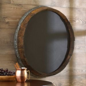 Wine barrel round mirror